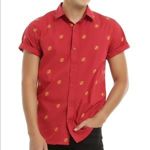 Hot Topic DC Comics The Flash Logo Woven Button Up
